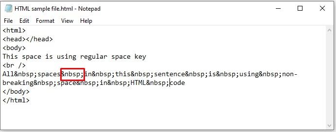 html sample file