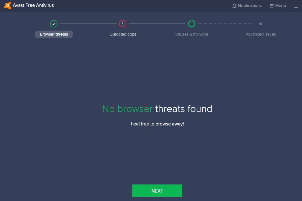 no browser threats found