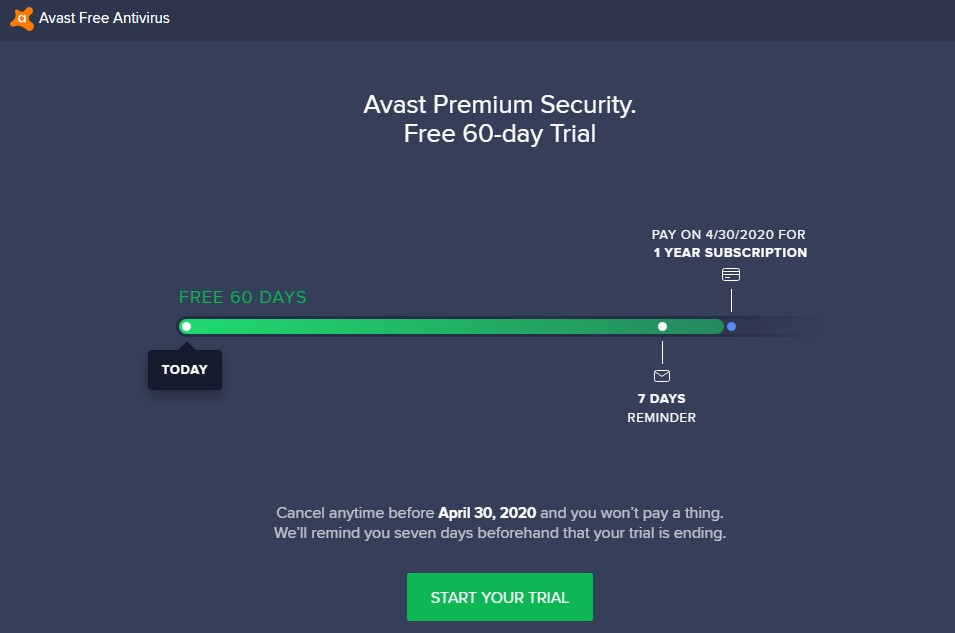 avast premium security free 60 days trial