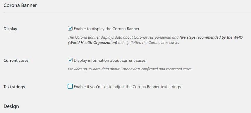 corona bar settings