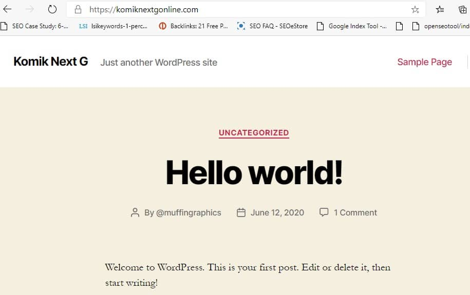 new wordpress installation