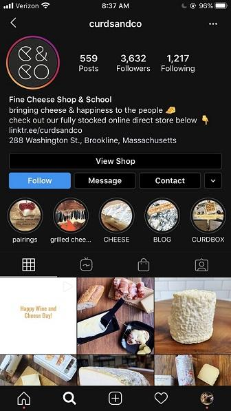 Instagram Story Highlights example from Curds & Co