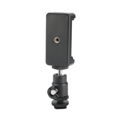 H1151 Mini Ball Head Hot Shoe Adapter with Smartphone Clip