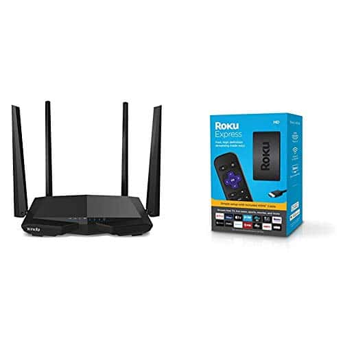 Tenda AC1200 Dual Band WiFi Router, High Speed Wireless Internet Router with Smart App, MU-MIMO for Home (AC6), Black & Roku Express HD Streaming Media Player 2019