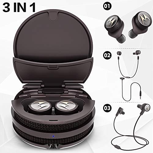 Motorola Tech3 3-in-1 Smart True Wireless Headphones - Cordless Earbuds, Sport Wire, Audio Plug-in - Sweatproof, Built-in Microphone, Charging Case with Cable Storage System - Mocha-Bronze
