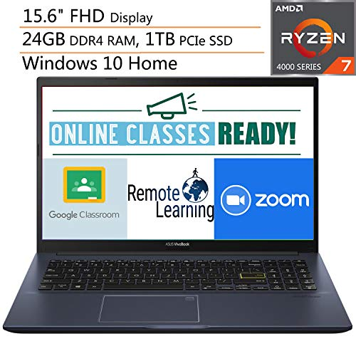 "2020 Newest ASUS VivoBook 15 15.6"" FHD Laptop Computer, AMD Octa-Core Ryzen 7-4700U (Beats i7-1065G7), 24GB DDR4 RAM, 1TB PCIe SSD, AC WiFi, Webcam, Online Class Ready, Windows 10, iPuzzle Mousepad"