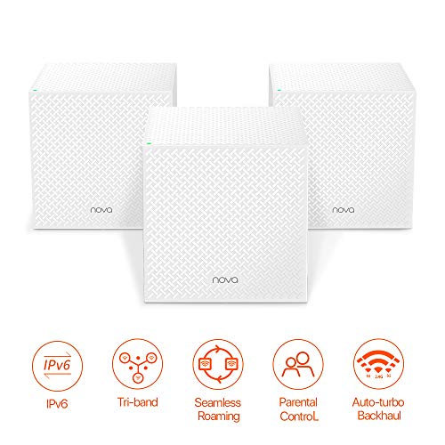Tenda NOVA Whole Home Mesh Wi-Fi System, Tri-Band AC2100 Router/Extender Replacement, 100+ Devices, Seamless Roaming, URL-Parental Control, Compatible with Alexa for 6000 sq. ft. (MW12 3PK)