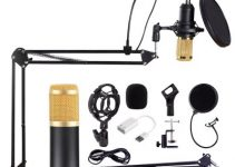 BM800 Professional Condenser Condenser Microphone Bundle Audio Studio Wired For Radio Braodcasting Singing Mic Holder Sound Computer Recording Set 6