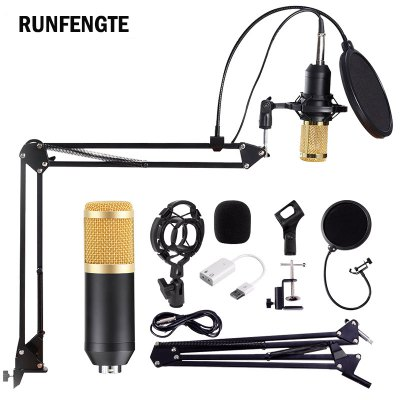 BM800 Professional Condenser Condenser Microphone Bundle Audio Studio Wired For Radio Braodcasting Singing Mic Holder Sound Computer Recording Set