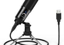 LEEHUR Professional Microphone Condenser Recording Voice Tabletop USB Wired Microphone with Stand for PC Computer Games YouTube 4