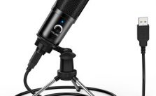 LEEHUR Professional Microphone Condenser Recording Voice Tabletop USB Wired Microphone with Stand for PC Computer Games YouTube