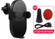 Original Xiaomi WCJ02ZM Infrared Sensor Wireless Car Charger Electric Auto Pinch Ring Lit Charging 5