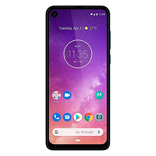 "Motorola One Vision w/Android One(128GB, 4GB RAM) 6.3"" 21:9 Long Display, Dual 48MP Camera, US + Global 4G LTE GSM Factory Unlocked XT1970-2 - International Version (Sapphire Blue)"