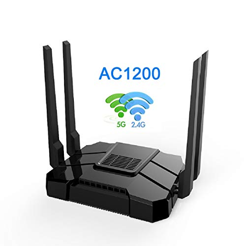 Smart WiFi Router High Speed Gigabit Dual Band 2.4GHz and 5GHz AC1200 Wireless Router for Home and Gaming Coverage up to 3500 sq.ft and 40 Plus Devices