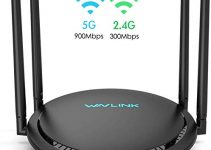 AC1200 Smart WiFi Router - WAVLINK 1200Mbps Touch Link Smart Dual Band Gigabit Wireless Internet Router,5Ghz + 2.4Ghz with 4x5dBi Omni Directional Antennas WiFi Router for Online Game&HD Video 1