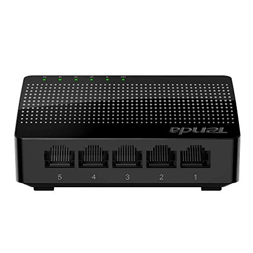 Tenda 5 Port Gigabit Ethernet Network Switch | Ethernet Splitter | Plug-and-Play | Traffic Optimization | Unmanaged (SG105), Black
