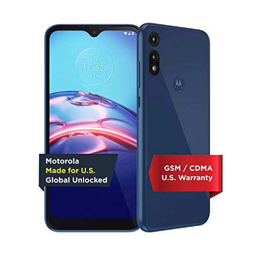 Moto E | Unlocked | Made for US by Motorola | 2/32GB | 13MP Camera | 2020 | Blue, XT2052-1, 2/32 GB | Moto E | 13MP Camera | Blue | US