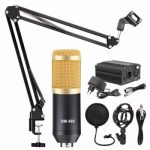 BM 800 Microphone Condenser Sound Recording With Shock Mount And 48V Phantom Power For Radio Braodcasting Singing Recording KTV Karaoke Mic