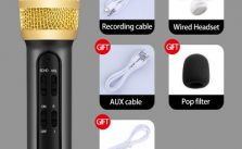 LEEHUR Professional Karaoke Handheld Portable Microphone Sing Recording Live Wired Microfone for computer iphone huawei xiaomi