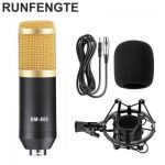 RUNFENGTE BM-800 Professional Studio Condenser Sound Recording Microphone+Plastic Shock Mount Kit for Recording Braodcasting Singing Recording Black