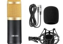 RUNFENGTE BM-800 Professional Studio Condenser Sound Recording Microphone+Plastic Shock Mount Kit for Recording Braodcasting Singing Recording Black 4