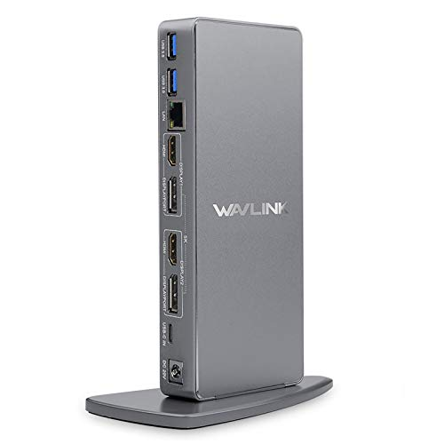 WAVLINK Dual 4K USB C Universal Laptop Docking Station, Dual 4K@60Hz & Single 5K@60Hz Display,2xHDMI & Display Port,6 USB 3.0,Gigabit Ethernet,Audio for Windows & Chrome OS