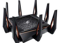Asus ROG Rapture GT-AX11000 AX11000 Tri-Band 10 Gigabit WiFi Router, Aiprotection Lifetime Security by Trend Micro, Aimesh Compatible for Mesh WIFI System, Next-Gen Wifi 6, Wireless 802.11Ax, 4x Giga 6