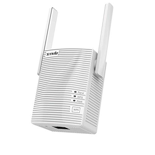 Tenda AC1200 WiFi Range Extender Gigabit WiFi Repeater with 100 Mbps LAN Port, Dual Band 2.4GHz 300Mbps+5GHz 867Mbps, Hide SSID, WPS Function, Encryption Mode (A18), White