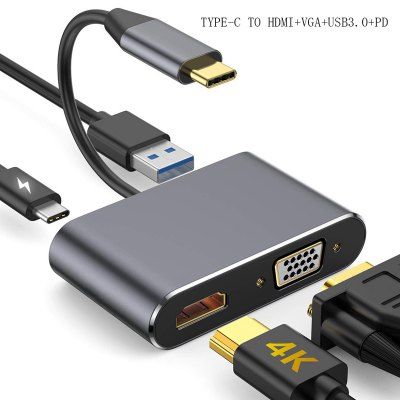LEEHUR USB C HDMI VGA Adapter Type C to HDMI VGA USB3.1 to VGA Converter 4K for MacBook Huawei Samsung USB C HDMI