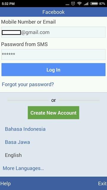 Facebook lite password sent to SMS