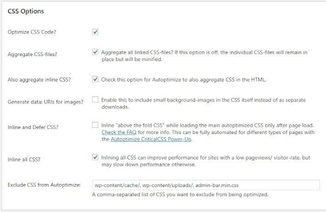 Autoptimize settings CSS options