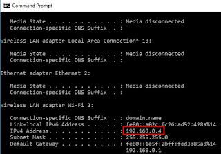 check IP address via command prompt