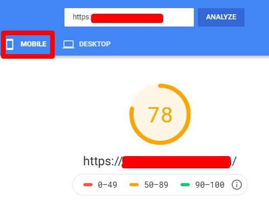pagespeed insight mobile
